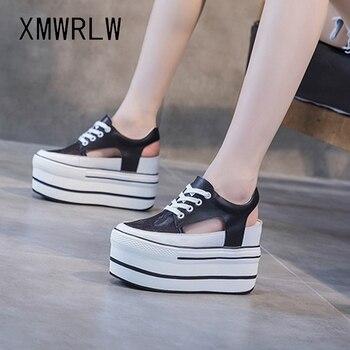 XMWRLW, sandalias de verano de malla transpirable para mujer, zapatos de plataforma de tacón alto a la moda para mujer, sandalias de verano, zapatos de cuero genuino