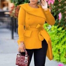 Autumn African Women Blouse Tops 2019 Winter irregular O Neck Office Ladies Work Wear Elegant Black Asymmetrical Tops
