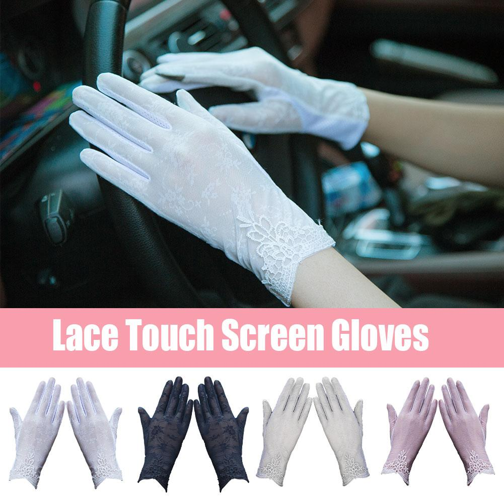 1pair Fashion Sexy Lace Touch Screen Gloves Summer Sun Protection Anti-UV Wrist Ladies Non-slip Stretch Driving Gloves