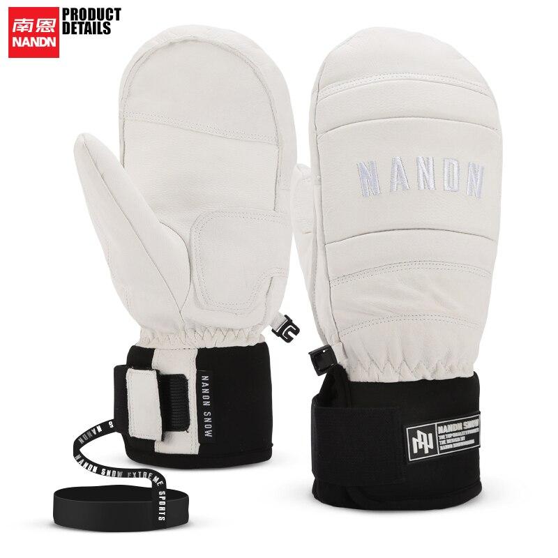 NANDN Ski Gloves Leather Warm Waterproof Windproof Snowboard Men And Women