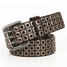 Punk Belt Hip Hop Belts For Men Heavy Metal Cowboy Genuine Leather Cross Rivet Jeans belt male Strap Ceinture Homme Dropshipping