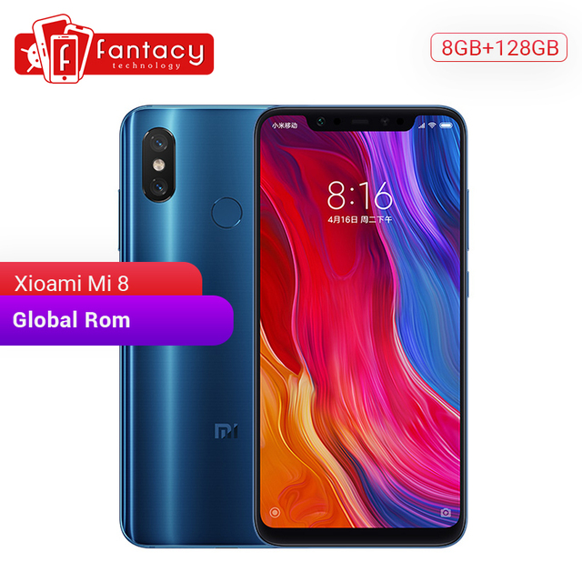 "Global Rom Xiaomi Mi 8 8GB 128GB Snapdragon 845 Octa Core 6.21"" 1080P AMOLED Full Screen Smartphone Dual Camera 20MP"