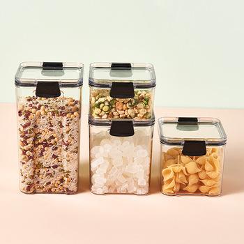 Słoiki do przechowywania przechowywanie żywności zestaw przezroczysty kwadrat zamknięty kuchnia ziarna schowek przekąski suszone słoiki do przechowywania owoców słoiki do przechowywania jar tanie i dobre opinie CN (pochodzenie) Z tworzywa sztucznego