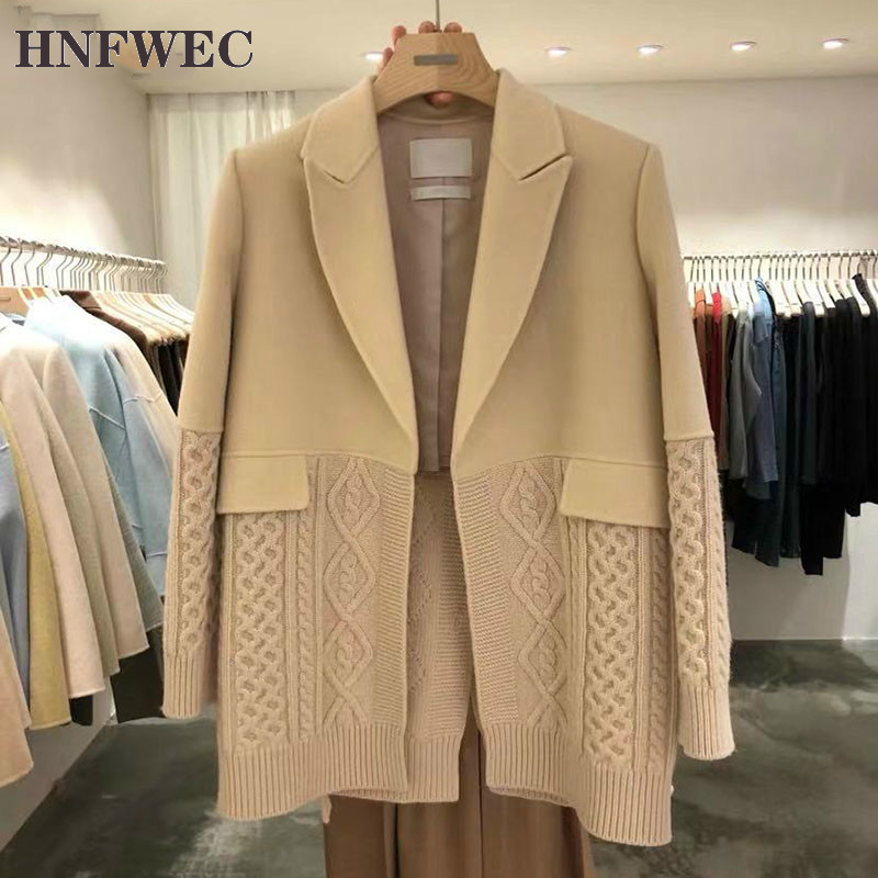 Korean Style Women Jackets 2020 Autumn And Winter New Wild Ladies Jackets Knit Stitching Fashion Women Clothing F489