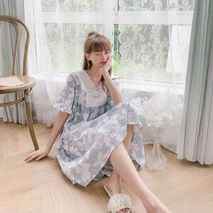 100% bawełna duże rozmiary kobiety drukowane koszula nocna słodkie krótkie rękawy dziewczyny sukienka wieczorowa lato do kolan śliczna koszula nocna domowa 2020 nowe