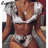 Sexy v neck swimsuit female Push up print bikinis 2019 mujer High waist swimwear women High cut bathing suit new Buckle biquini