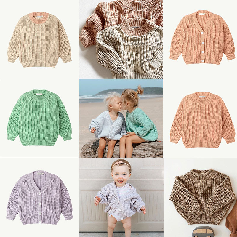 Kids Sweater SS Brand New Winter Baby Girl Sweater Coat Boys Toddler Girls Candy Color Cotton Knitted Soft Cotton Tops Cardigan 1