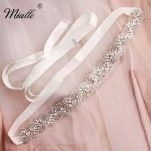 Miallo แฟชั่นดอกไม้คริสตัล Sash Handmade เจ้าสาวเข็มขัดชุดอุปกรณ์เสริมเพชรสำหรับเจ้าสาว