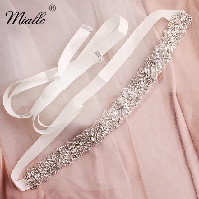 Miallo ファッションの花の結婚式クリスタルサッシ手作りブライダルベルトウェディングドレスアクセサリーダイヤモンドベルト花嫁のための