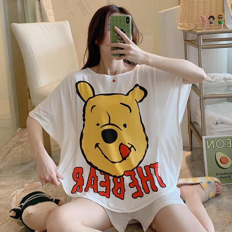 WAVMIT New 2020 Summer Women Loose Sleeves Cute Pajama Set Girl Print Pyjama Set Short Sleepwear Suit Women Nightshirt Sets