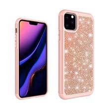 Capa em pó para i phone 2 em 1, capa em tpu + pc com brilho para iphone 11, 11 pro, 11 pro, max, glitter, 150 peças caixa de cobertura de telefone