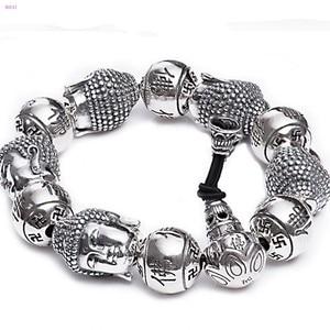 Image 5 - BOCAI  Buddha S999 pure Silver Bracelet Pure silver bracelet man Thai silver mens Buddha beads Bracelet Silver Bracelet for men