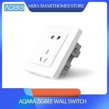 Оригинальный умный дом Xiaomi Aqara умный светильник ZiGBee настенный выключатель розетка через смартфон приложение Xiaomi беспроводной пульт дистанционного управления