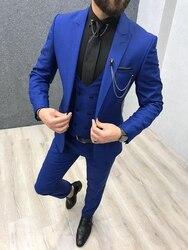 Мужские костюмы ярко-синего цвета из трех предметов 2020, свадебные смокинги с острым отворотом, приталенные Мужские костюмы (пиджак + брюки + ...