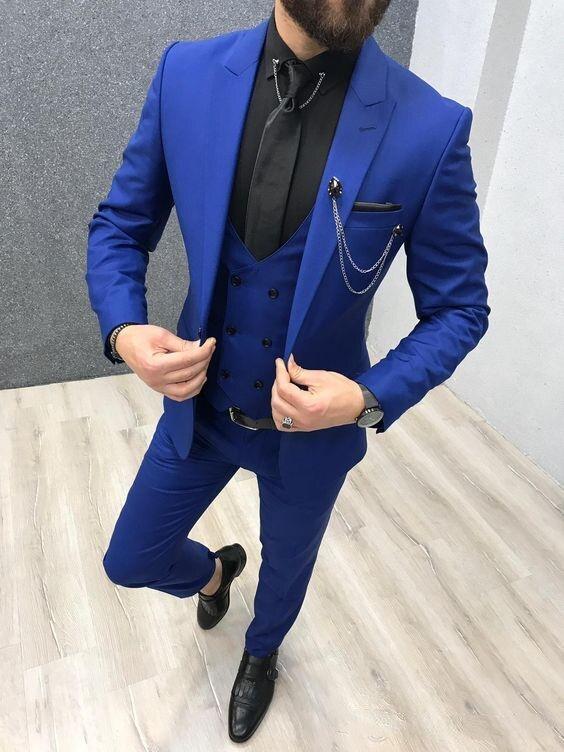 2020 trajes de tres piezas de color azul real para hombre, solapa con pico, esmoquin de boda, trajes ajustados para hombre (chaqueta + pantalones + chaleco + corbata)