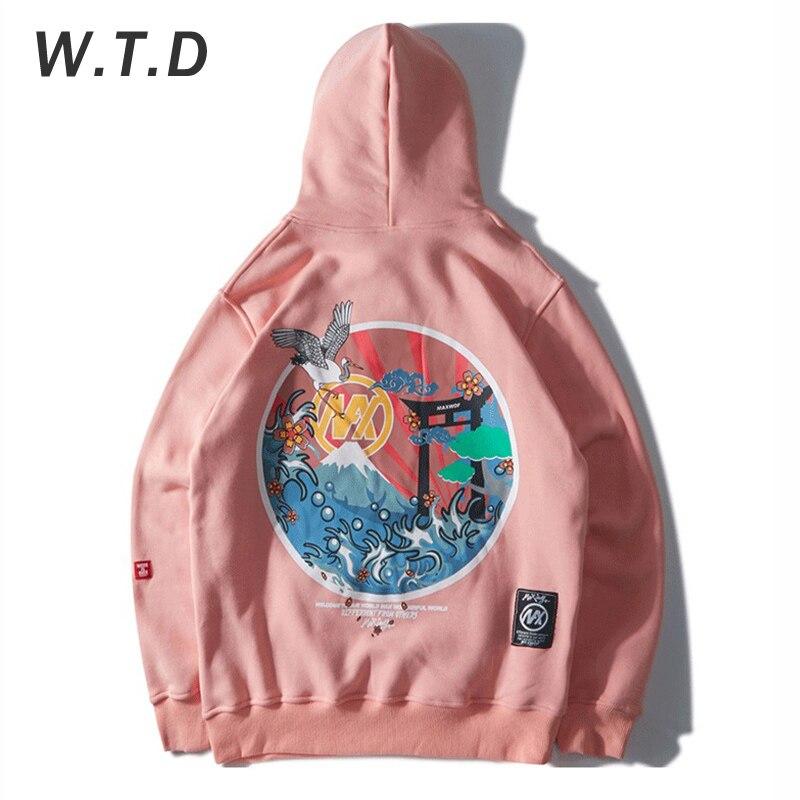 WTD Men's Sweatshirt Embroidery Crane Japanese Elements Printed Hip Hop Casual Hoodie Standard Oversized Sweatshirt Men Hoodies