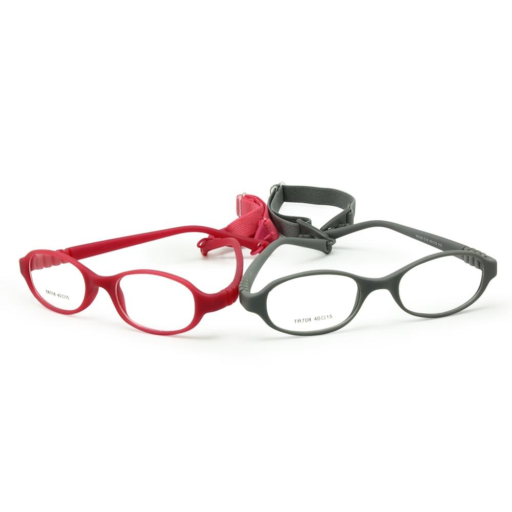 Armação de óculos de bebê com alça e lentes regulares tamanho 40/15, sem parafuso dobrável seguro, óculos de criança para menino com cordão