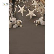 Laeacco Рождественская фотосессия звезды хлопковый шар свет