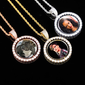 Zciti Custom Made Photo Lockets Necklace & Pendant With 4Mm Tennis Chain Gold Silver Cubic Zircon Men Hip Hop Jewelry gold pendant with topaz and cubic zirkonia