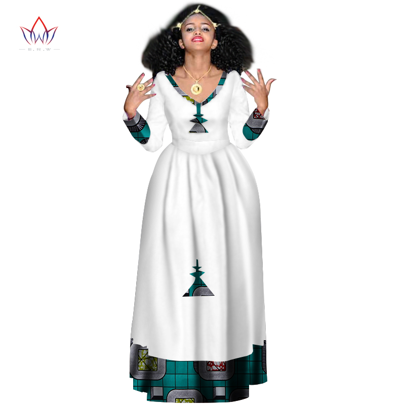 In Stock African Bazin Dresses For Women African Full Sleeve Dresses For Women V-neck In African Dashiki Clothing WY2998