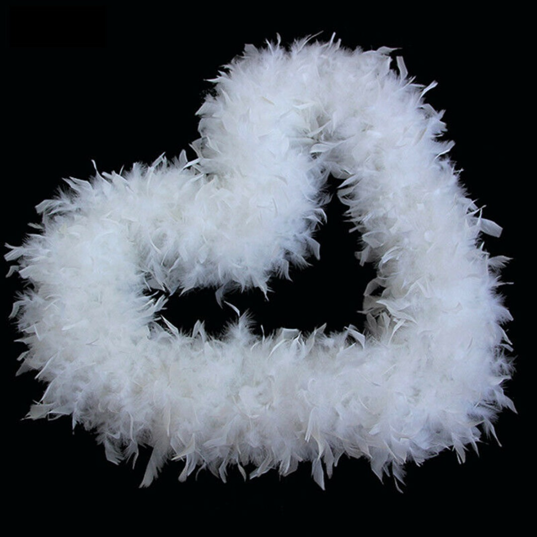 5PCS 2M Christmas Tree White Feather Xmas Ribbon Boa Strip Party Garland Decor