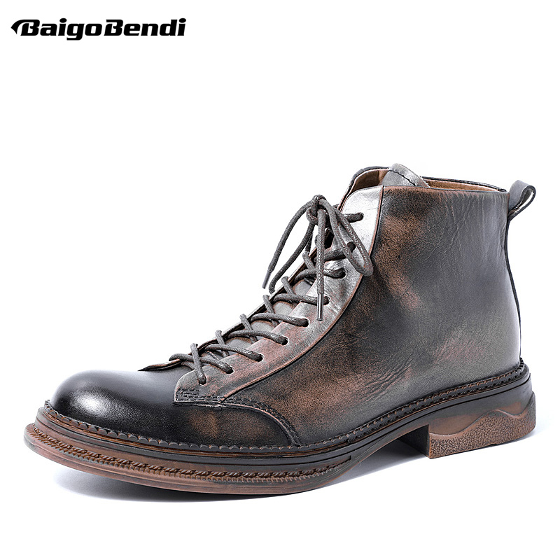 New Lace Up Round Toe Boots Men Full Grain Leather Work And Safety Ankle Boots Retro Shoes Winter Trendy Man US Size