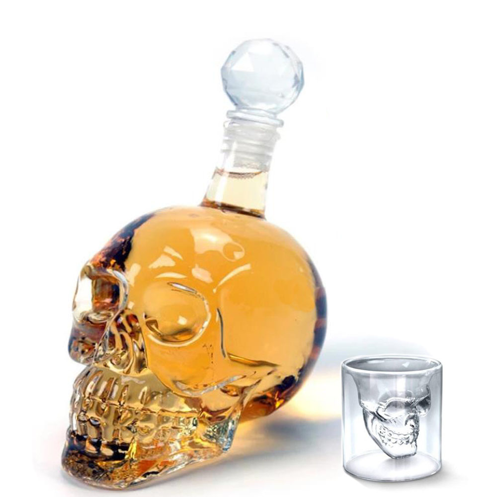 125 ml 350 ml 550 ml 1000 ml 보드카 병 두개골 병 크리 에이 티브 고딕 와인 보드카 디켄터 유리 flagon