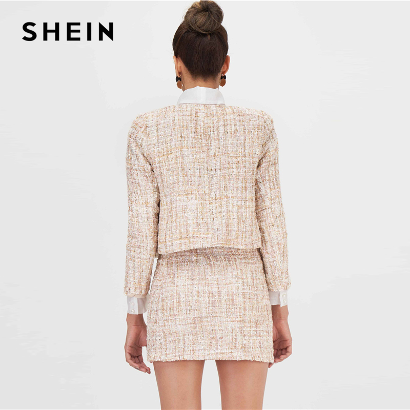 Image 2 - SHEIN Khaki Open Front Tweed Elegant Spring Jacket Coat Women  Clothing 2019 Autumn Fashion Long Sleeve Ladies Party JacketsJackets