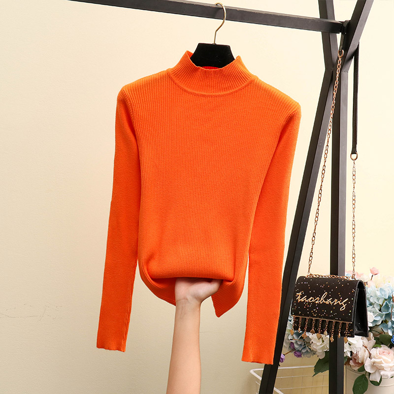 Solid Color High Neck Long Sleeve Sweater Bottoming Shirt One Size Fashion Warm Simple Knit Sweater Winter