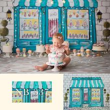 цена на Blue Patisserie Store Backdrop Children's 1st Birthday Photography Backdrops Newborn Baby Kids Backgrounds for Photo Studio