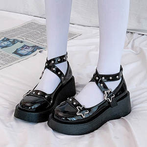 Lolita Shoes Star Buckle Mary Janes Shoes Women Cross-tied Platform Shoes Patent Leather Girls Shoes Rivet Casual Shoes 8570N