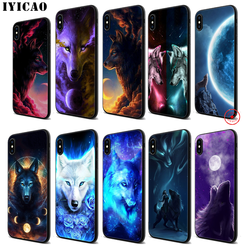 IYICAO Moon roaring wolf Soft Black Silicone Case for iPhone 11 Pro Xr Xs Max X or 10 8 7 6 6S Plus 5 5S SE