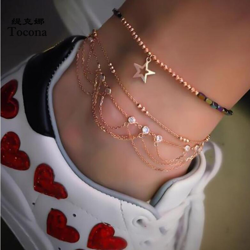 Tocona 3pcs/sets Gold Anklets for Women Fashion Hollow Star Foot Chain Clear Crystal Stone Summer Jewelry Accessories 8143