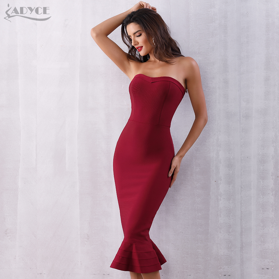 Adyce 2019 New Summer Women Bandage Dress Vestido Sexy Sleeveless Strapless Blue Club Dress Elegant Celebrity Runway Party Dress