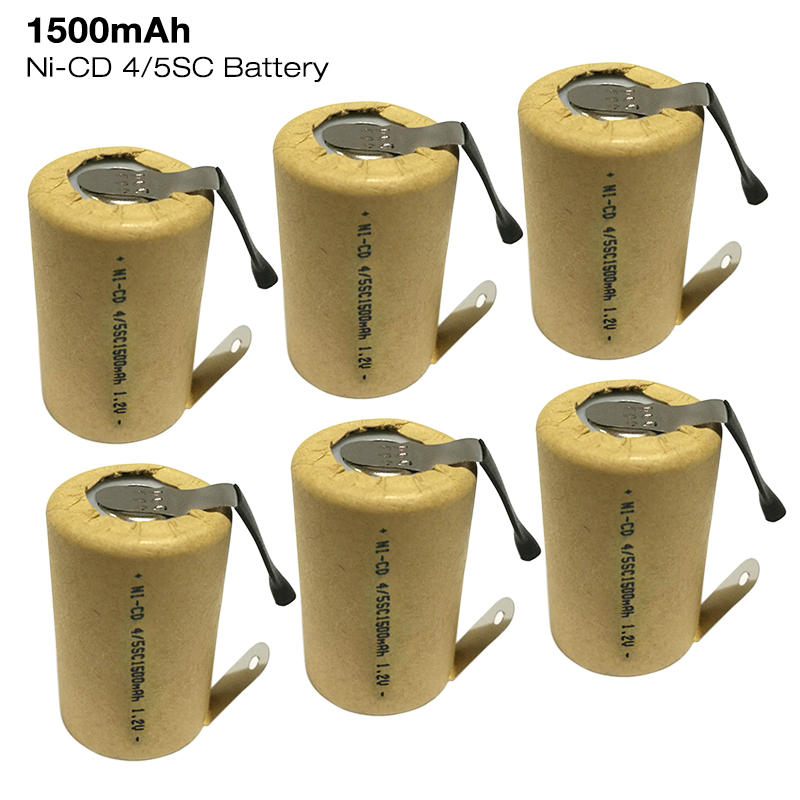 4/5SC Battery <font><b>1.2V</b></font> 1500mAh <font><b>Ni</b></font>-CD Rechargeable SC Battery with welding tabs for Flashlight Power Bank Power Tools Torch Battery image