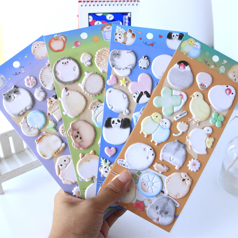 Fat Cartoon Animal Writable 3D Decorative BulleT Journal Stickers Scrapbooking Stick Label Diary Stationery Album Stickers