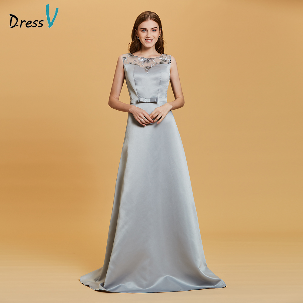 Dressv Lace Sequins Evening Dress Silver Scoop Neck Floor Length A Line Gown Women Sleeveless Formal Party Long Evening Dresses