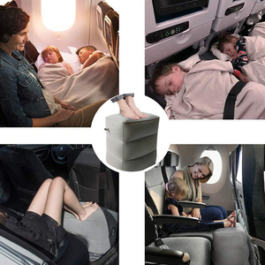 Image 4 - 3 שכבות מתנפח נסיעות רגל שאר כרית מטוס רכבת רכב רגל מנוחת כרית כמו אחסון תיק & אבק כיסוי מתנפח כרית