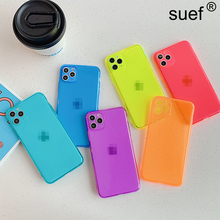 suef Luxury Fluorescence Transparent Soft TPU Case For iPhone 7 8 Plus X XS Max XR 11 Pro Max Cover Candy Color Transparent Case