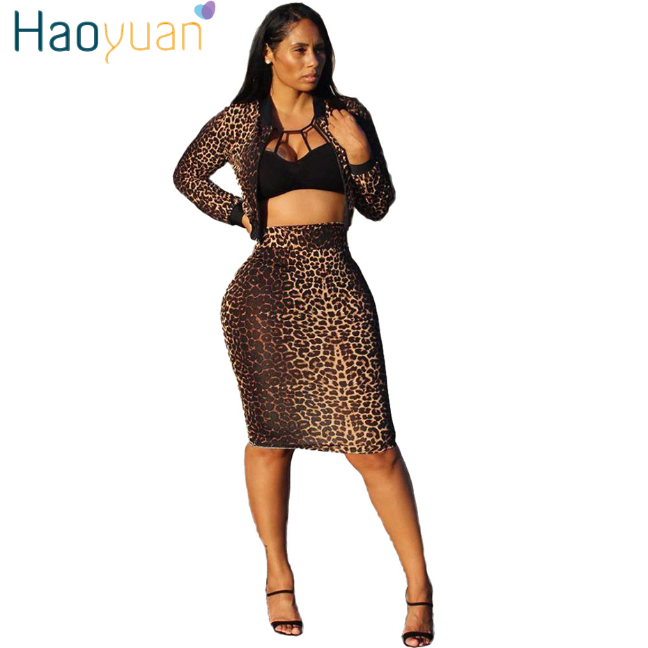 HAOYUAN Sexy Leopard Two Piece Skirt Set Long Sleeve Crop Top+Bodycon Long Skirt Women Festival Clothing Streetwear Matching Set