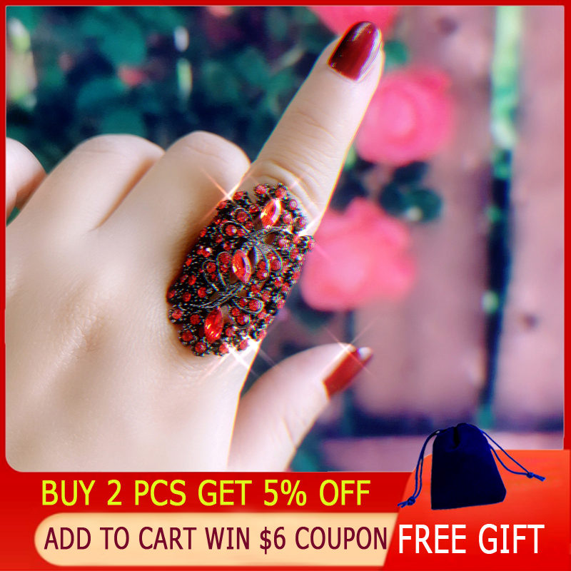 LEEKER Women Vintage Hollow Dragonfly Rings With Shiny Red Cubic Zirconia Female Sexy Ring Black Color Animal Jewelry 565 LK10 2