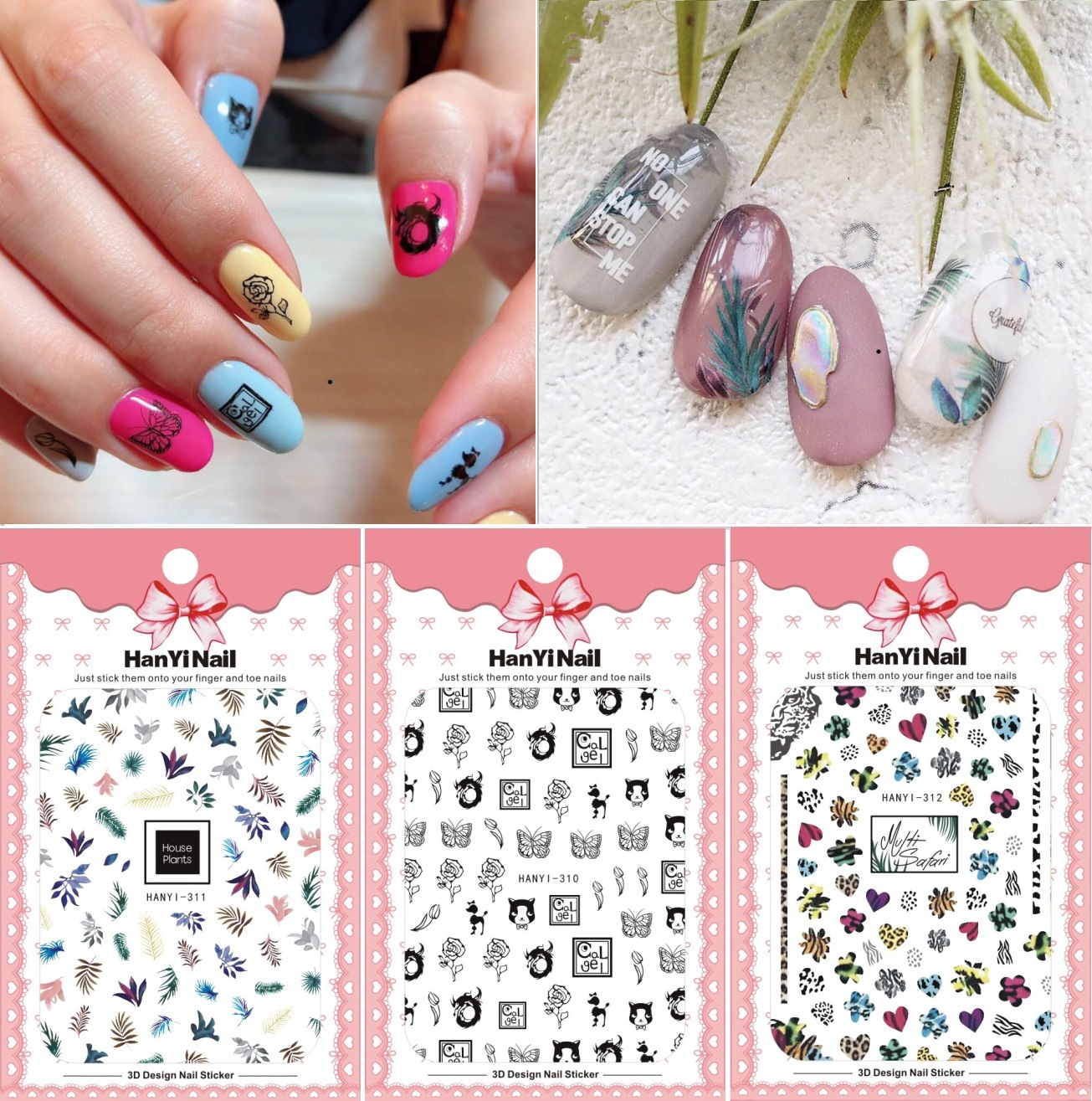HANYI-310-313 Flower Japanese-style 3D Nail Decals With Gum Nail Sticker Nail Ornament