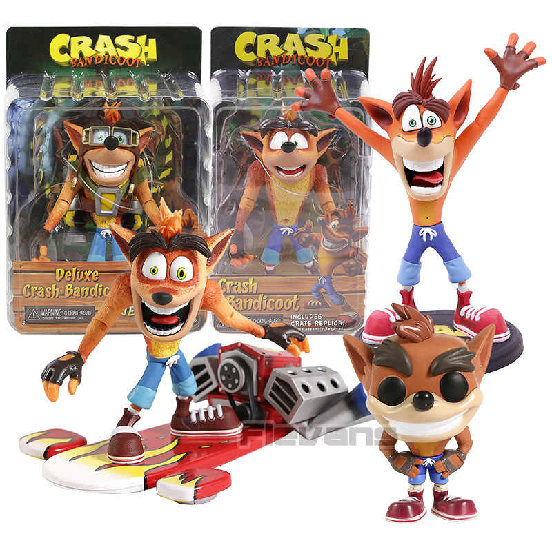 Neca crash bandicoot com jet board pvc action figure collectible modelo de brinquedo