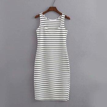 vestidos de verano Fashion party dress summer Casual Women stripe Print O-Neck Sleeveless Split Tank Dress Mini Dress ropa mujer 1