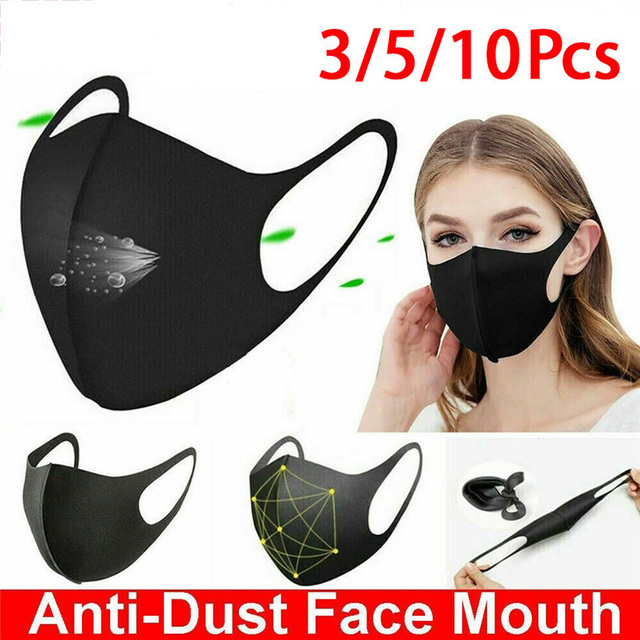 10pcs Washable Face Masks anti dust mask Activated carbon filter Windproof Mouth-muffle bacteria proof Flu Face masks Care