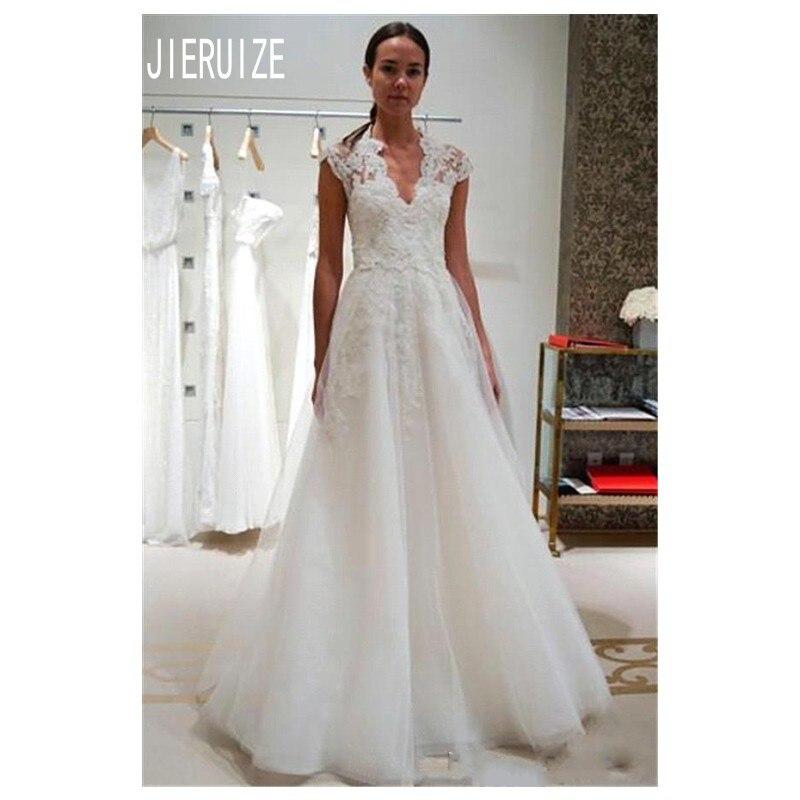 JIERUIZE New Vintage A Line Wedding Dresses Cap Sleeve V Neck Appliques Covered Button Back Long Bridal Gowns Robe De Mariee