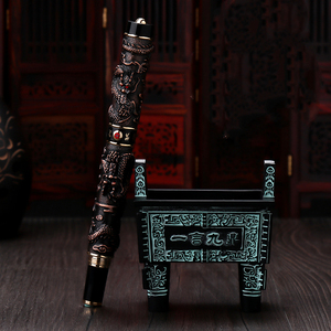 Image 4 - Jinhao Double Dragon / Snake Vintage Luxurious Fountain Pen / Pen Holder Full Metal Carving Embossing Heavy Gift Pen Collection