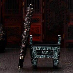 Image 4 - Jinhao ダブルドラゴン/スネークヴィンテージ豪華な万年筆ペン/ペンホルダーフルメタル彫刻エンボス大型ギフトペンコレクション