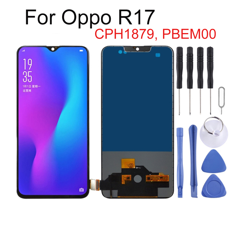 6.4 inch For OPPO R17 CPH1879 PBEM00 LCD Screen Digitizer Full Assembly for OPPO R17 LCD Screen Replacement Parts TFT Material