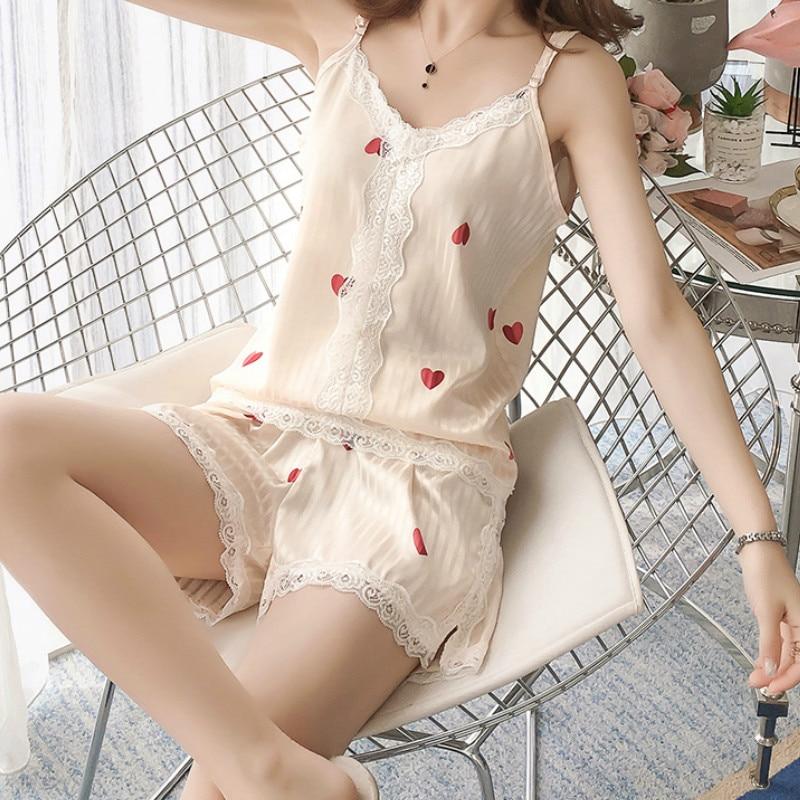 QWEEK Lace Pajamas Sets Heart Print Satin Pijama Kawaii Homewear Cute Pyjamas Silk Nightwear Woman Nightie Summer Pj Sleep Wear